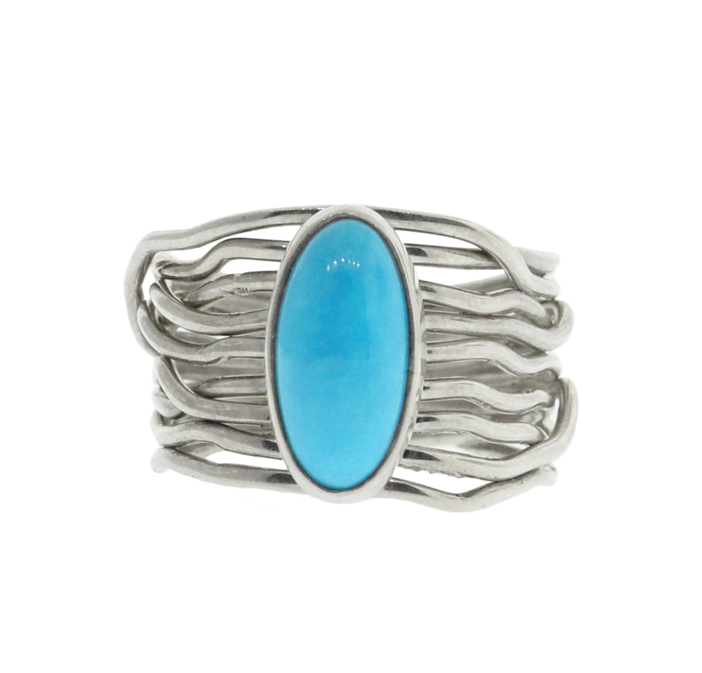 Native American Collection | Skinny Turquoise on Wire Wrap Band ...