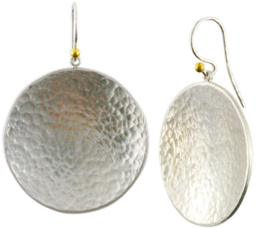 Large Silver Hourglass Disc Earrings