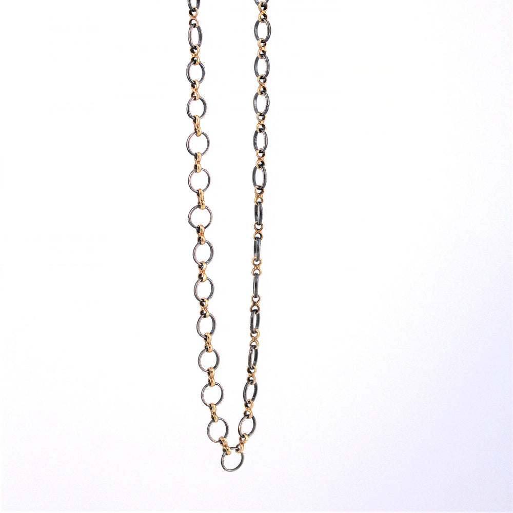 Oxidized Circle Chain Necklace
