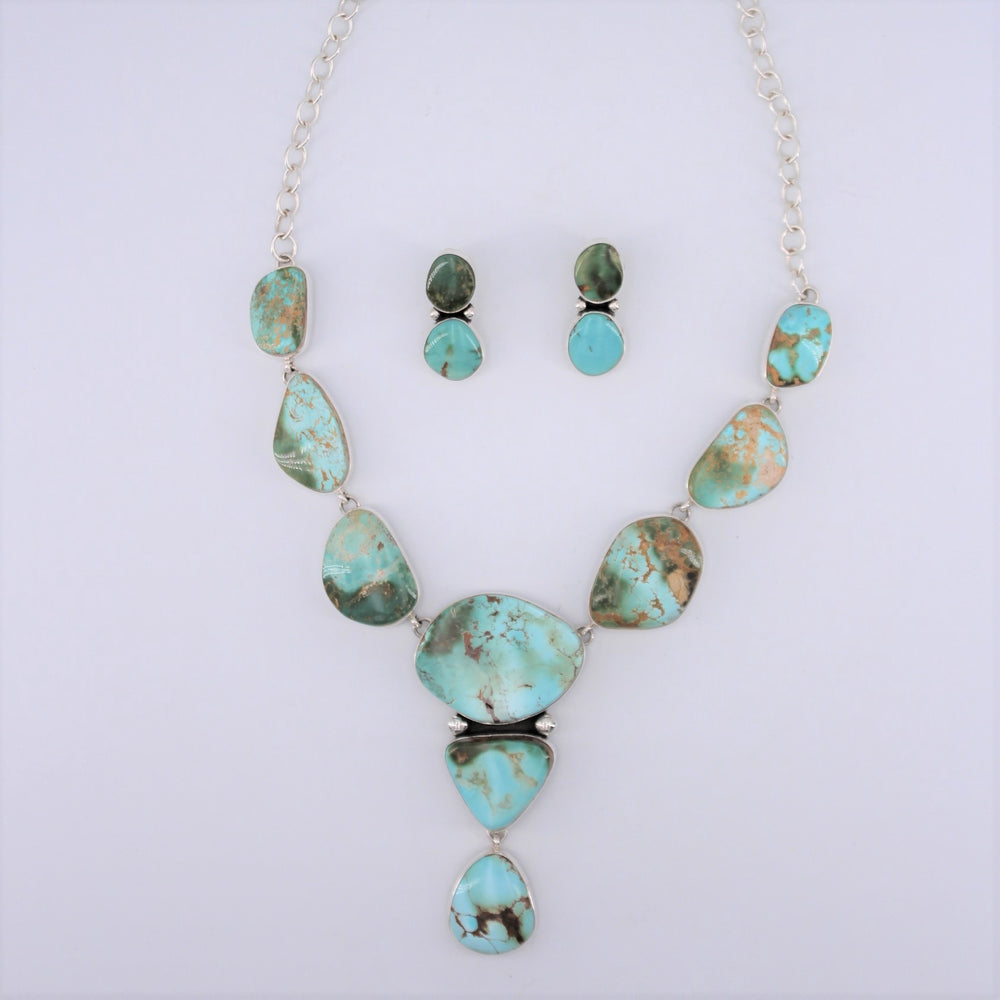 'Contemporary' Royston Squash Blossom Necklace and Earrings Set