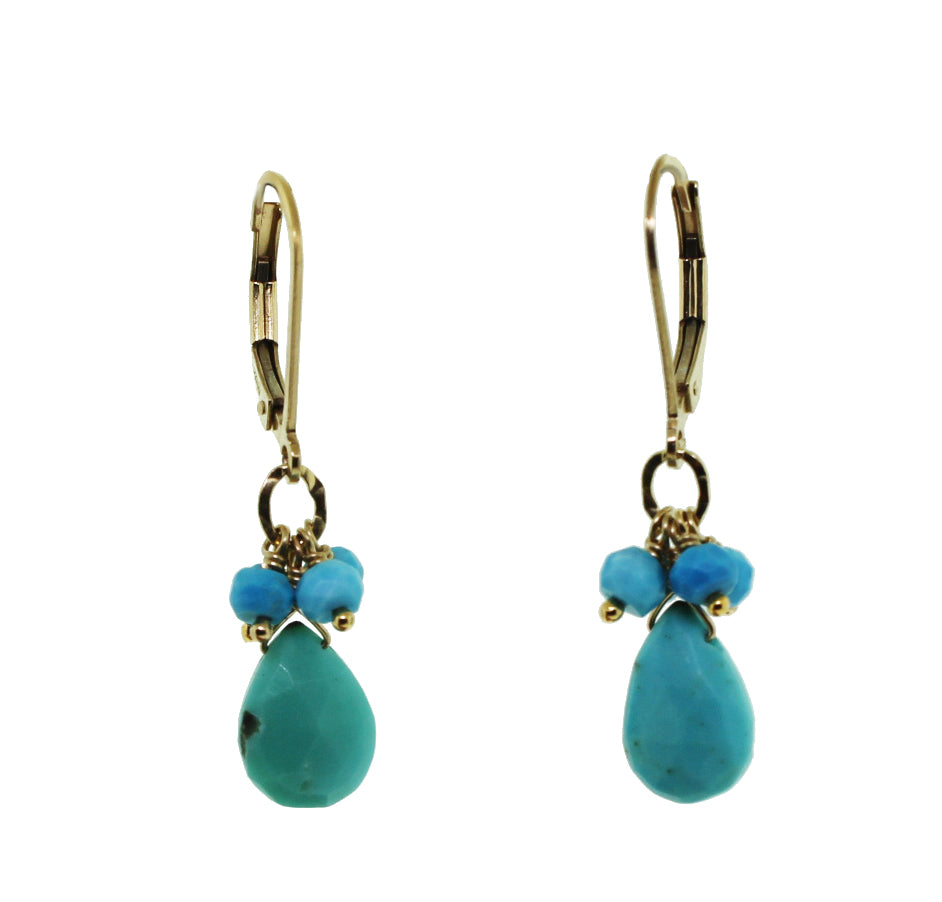 Turquoise Drop Earring with Beads