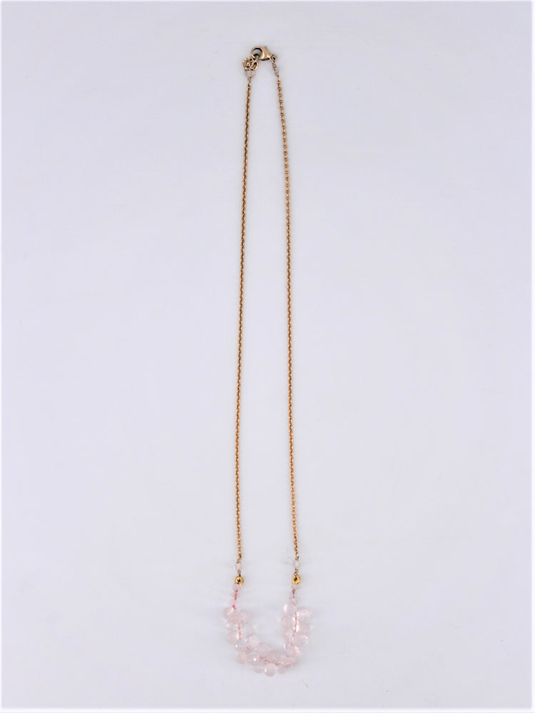 Pink Quartz Cluster Necklace
