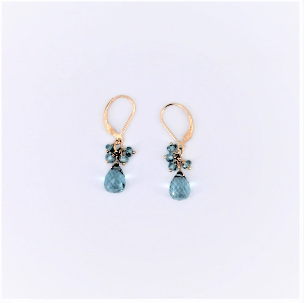 Blue Quartz Cluster Earrings