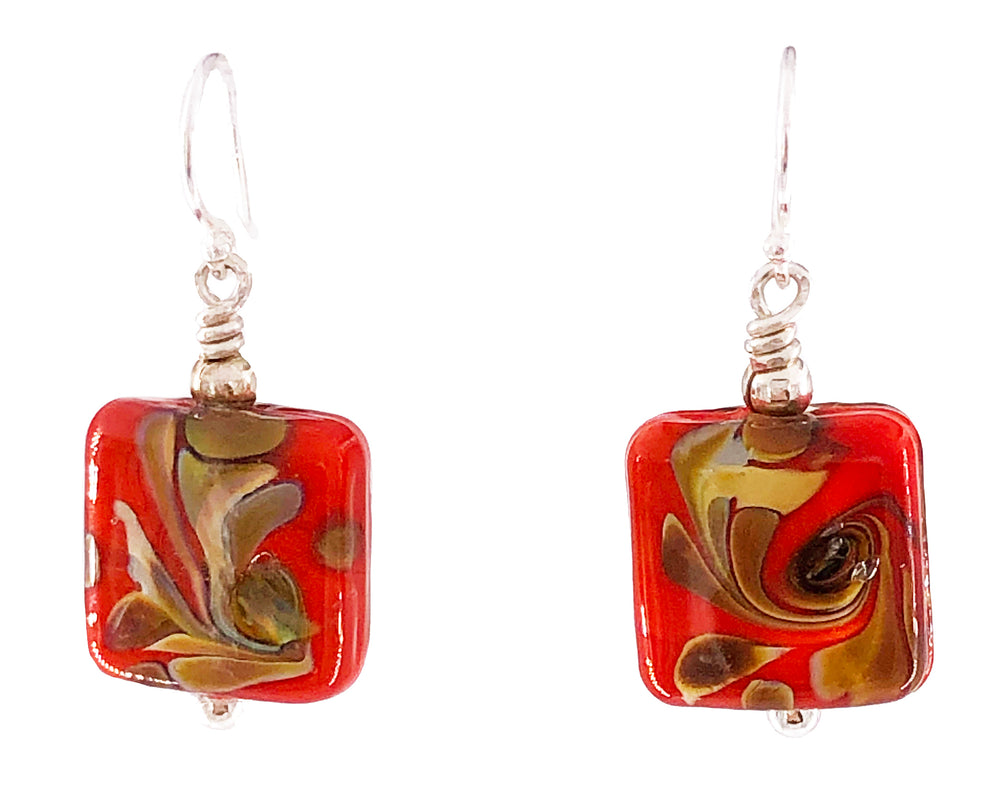 Red Peacock Square Earrings