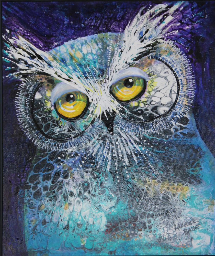 Blue Acrylic Poured Owl