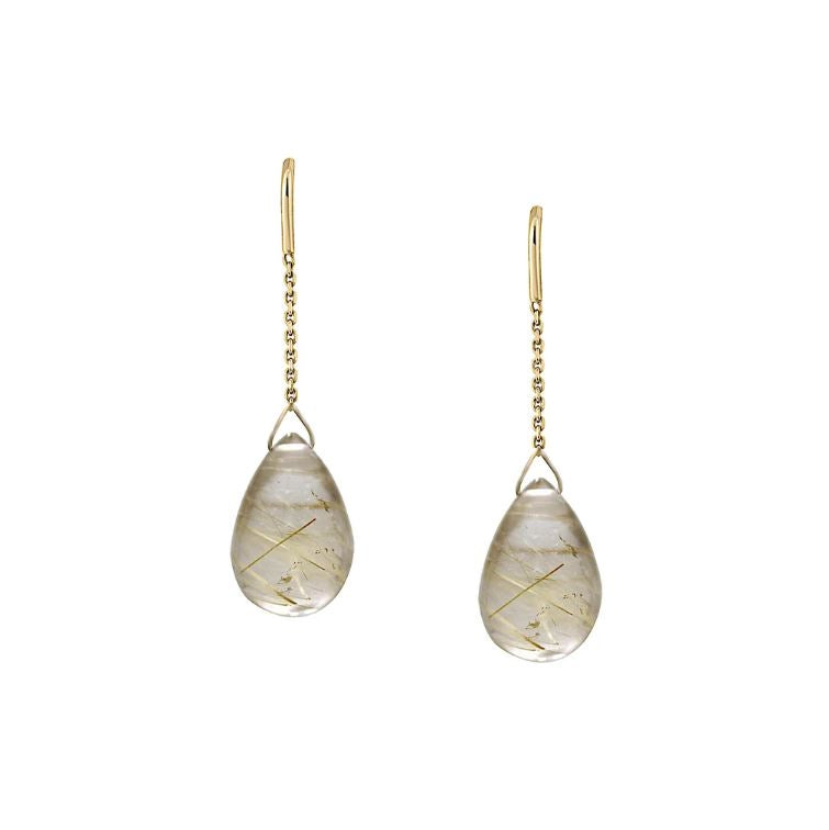 Golden Rutilated Drop Earrings