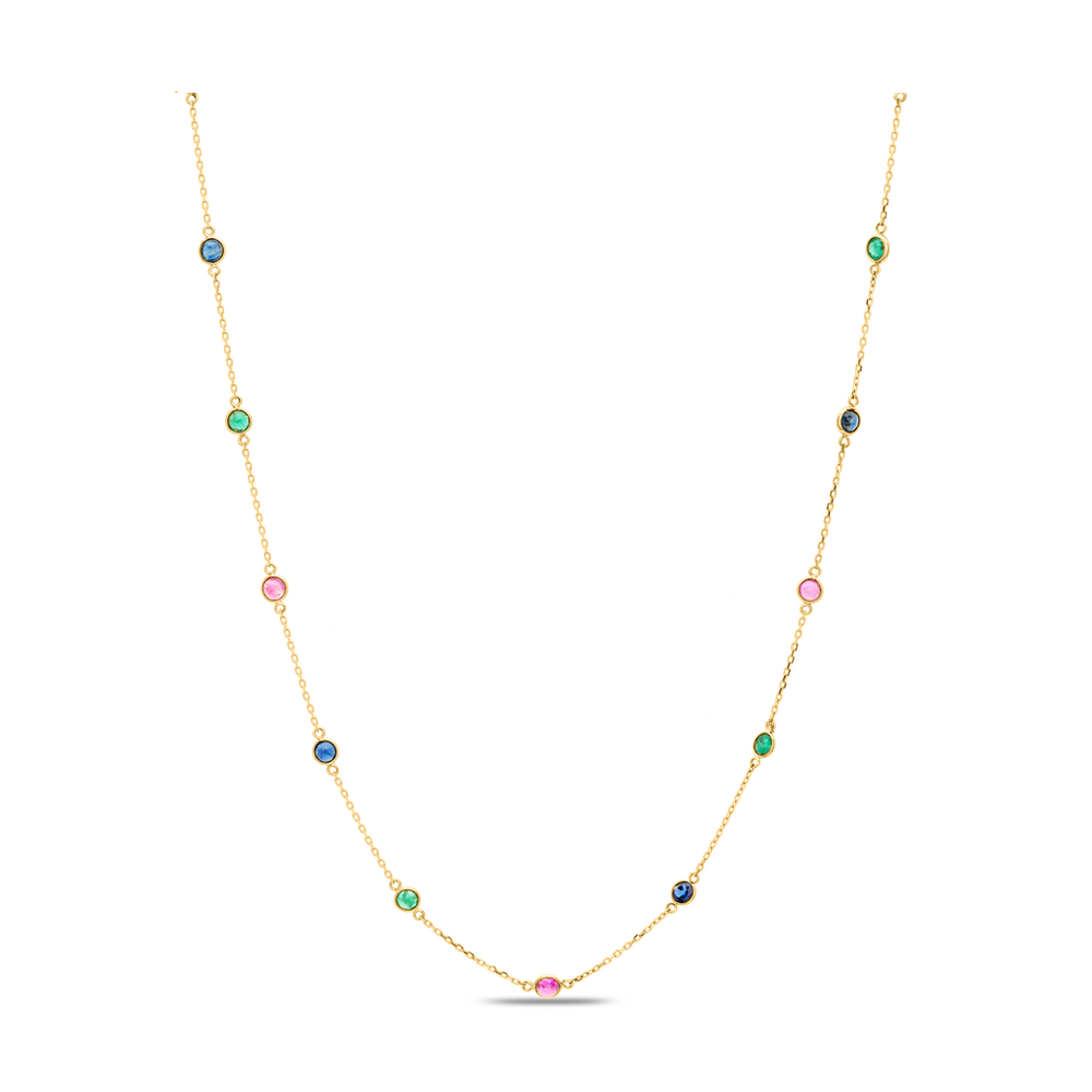 Multi Stone Gold Necklace