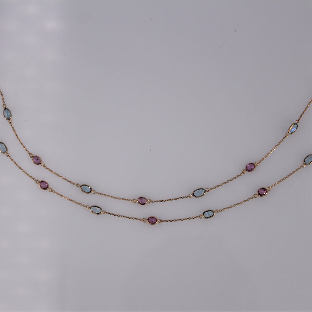 Aquamarine and Ruby Necklace