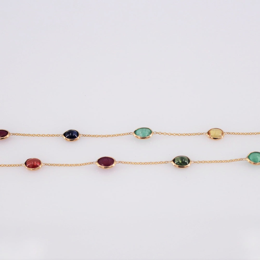 Oval Multi Stone Necklace