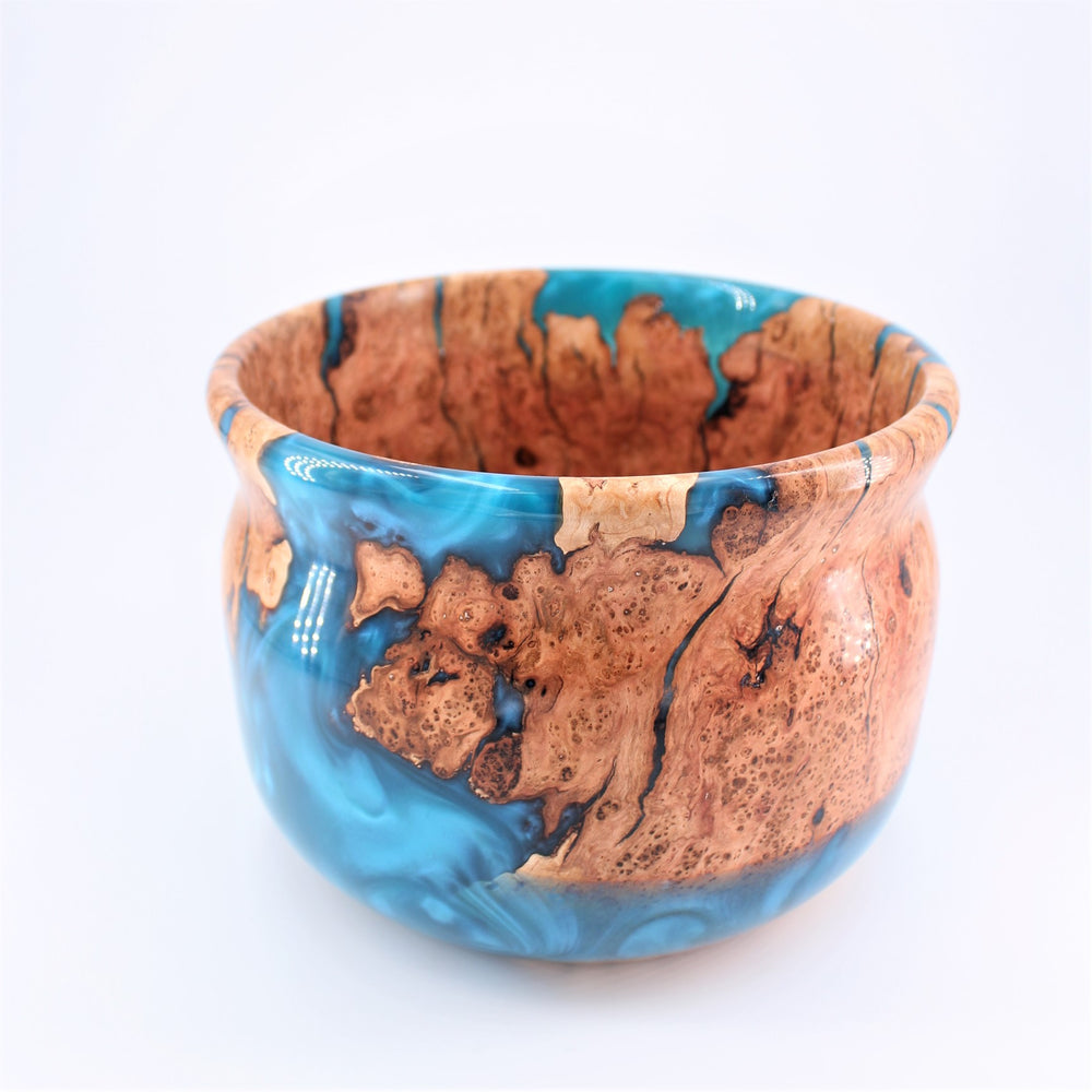 Cherry Burl Blue Resin Bowl