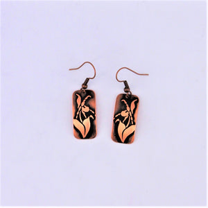Copper Lady Slipper Earrings