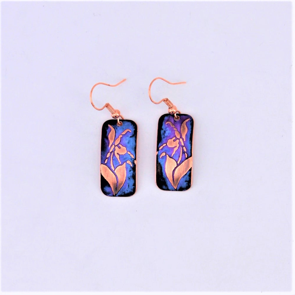 Purple Lady Slipper Earrings