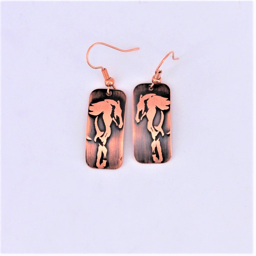 Copper Horse Earrings