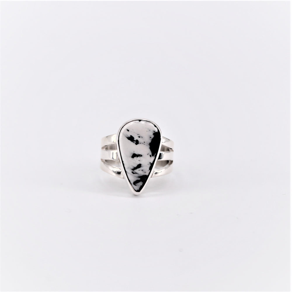 White Buffalo Teardrop Ring