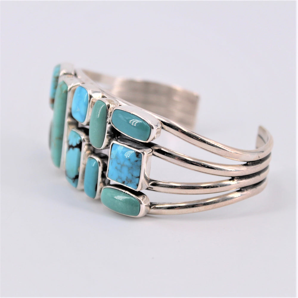 Ten Stone Turquoise Rectangle Cuff