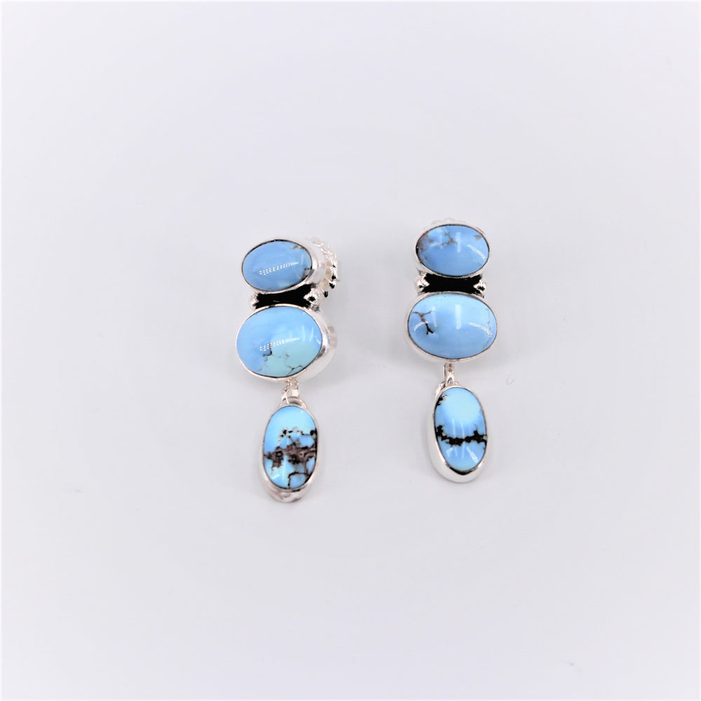 Golden Hill Turquoise Three Stone Dangle Earring