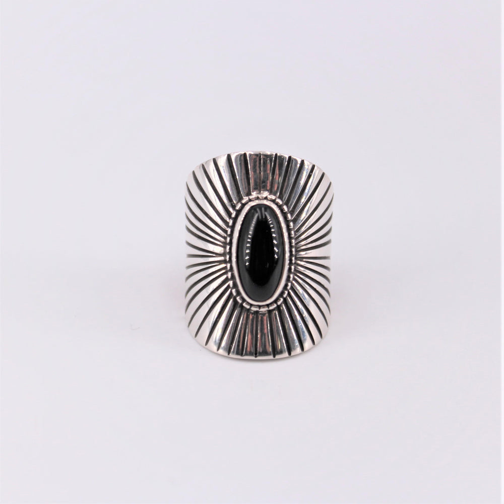 Wide Black Stone Ring
