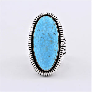 Saw Cut Turquoise & Sterling Silver Ring