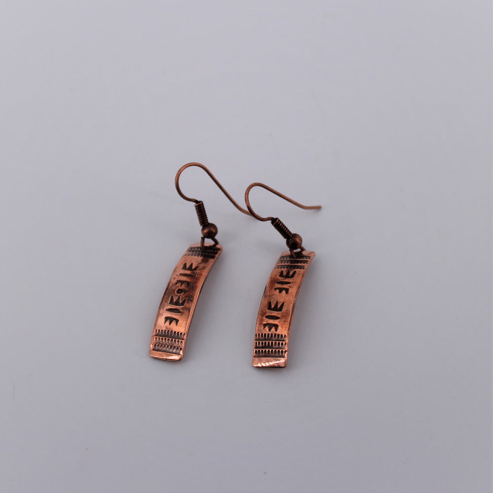 Copper Stamped Dangle Earrings
