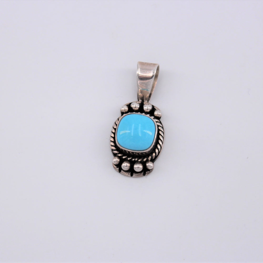 Square Turquoise Beaded Pendant