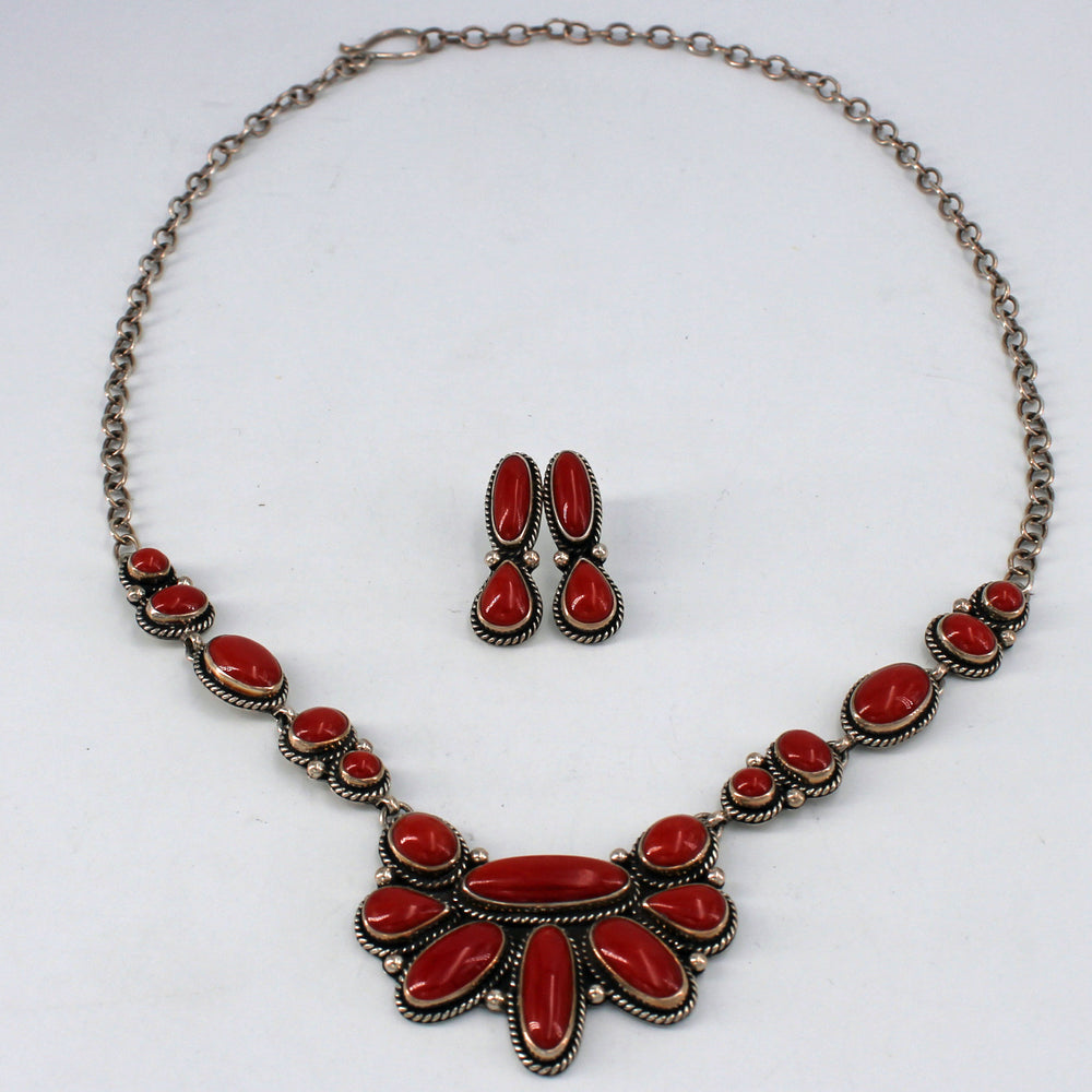 Red Coral Cluster Necklace & Earring Set