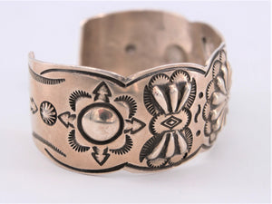 Stamped Sterling Silver Concho Flower Cuff