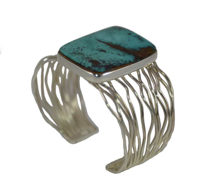 Sterling Silver Rectangular Turquoise Twine Cuff