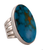 Sterling Silver Turquoise Large Oval Ring