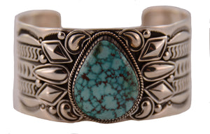 Kingman Turquoise Pear Red Spiderweb Cuff