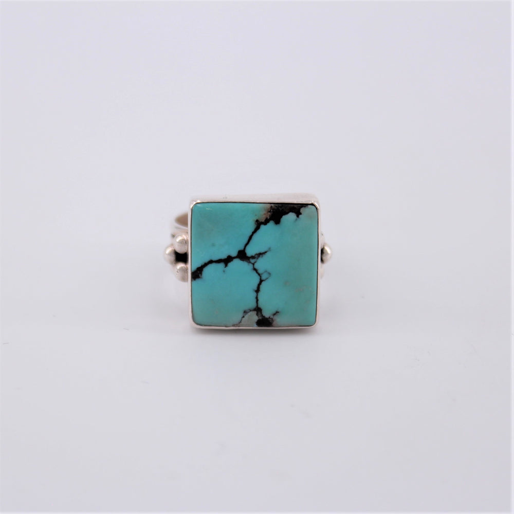 Square Turquoise 3 Bead Ring