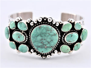 13 Stone Turquoise & Sterling Silver Cuff