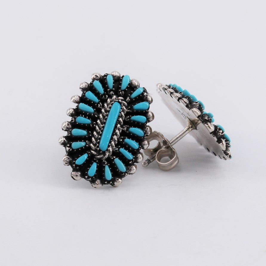 Zuni Turquoise Petit Point Earrings