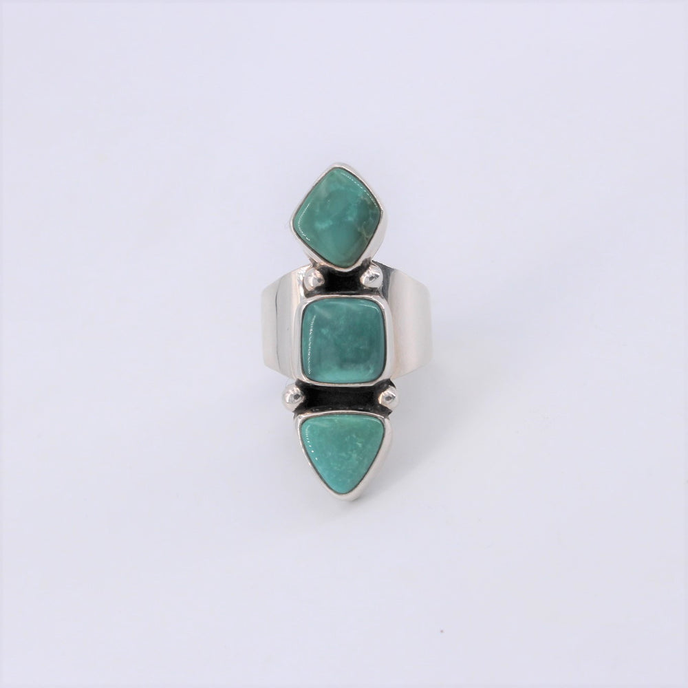 Fox Turquoise 3 Stone Ring