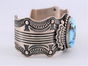 Golden Hills Turquoise Heavy Stamped Sterling Silver Cuff
