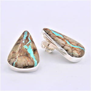 Large Boulder Turquoise Earrings