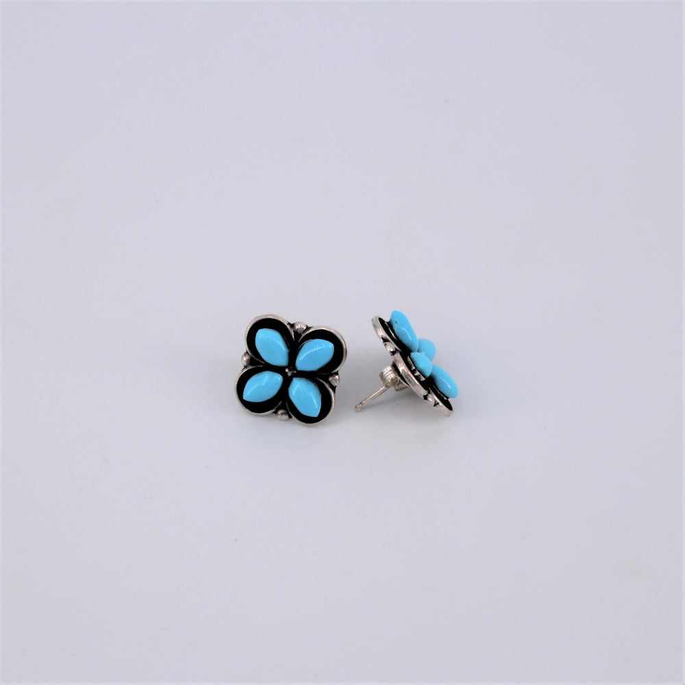 Turquoise Flower Post Earrings
