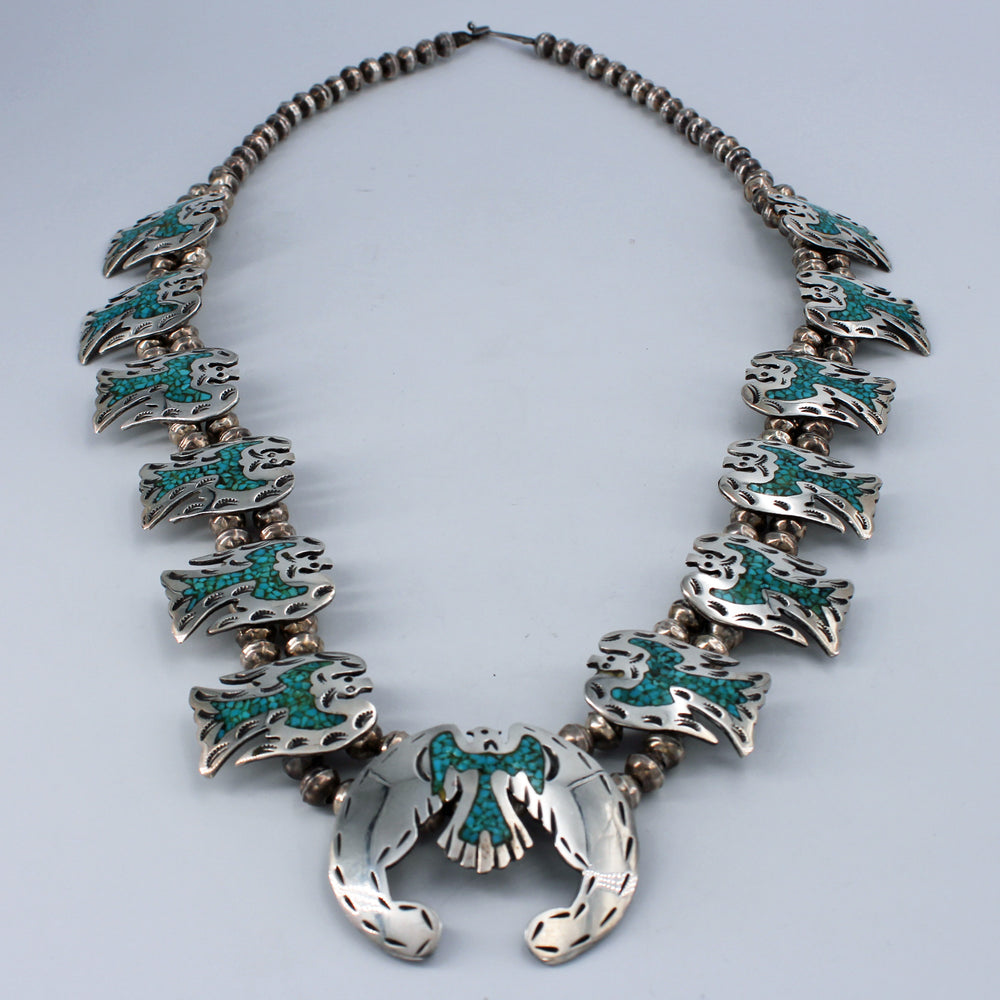 Peyote Bird: Crushed Turquoise Composite Squash Blossom Necklace