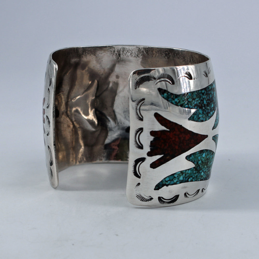 Chip Turquoise & Coral Thunderbird Cuff