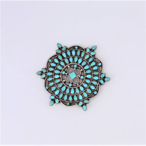 Turquoise Zuni Petit Point & Sterling Silver Pin