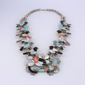 Multi-Stone Inlay Mixed Bird Squash Blossom Necklace
