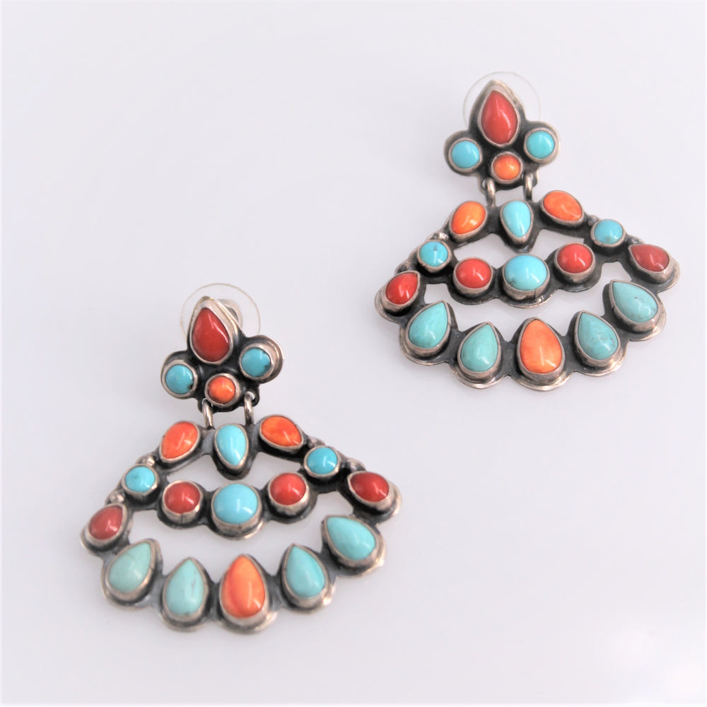 Mixed Turquoise Cluster Earrings