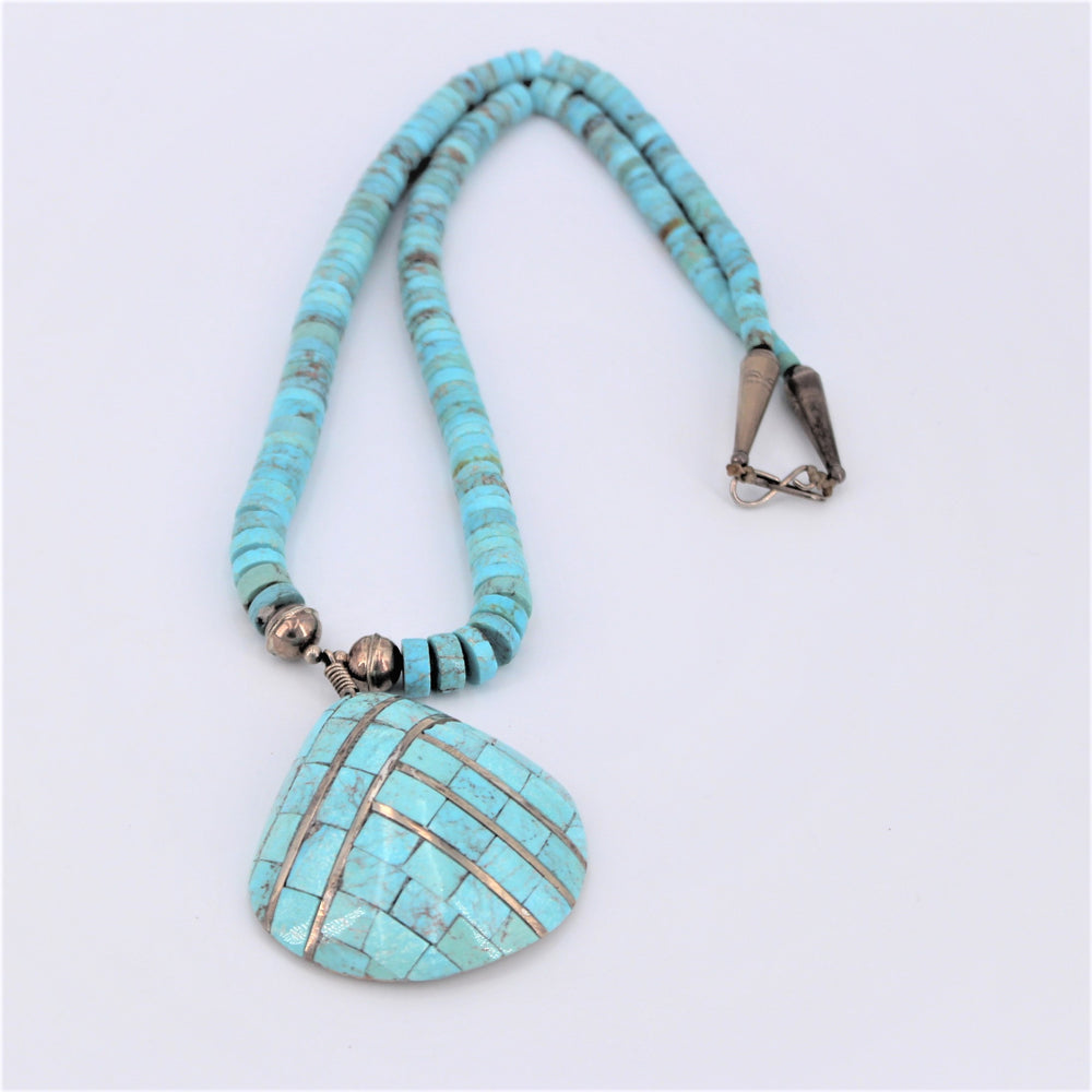Turquoise Necklace With Shell Pendant