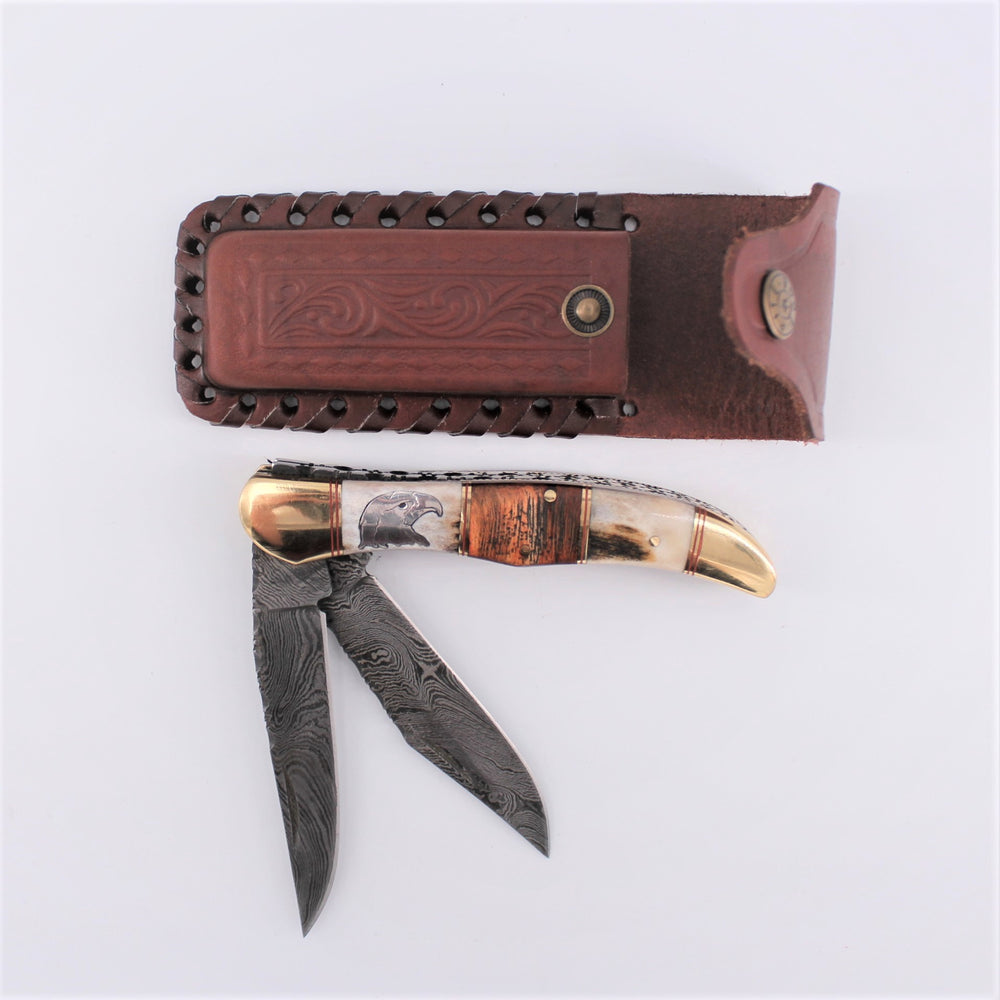 Damascus Double Blade Folding Knife
