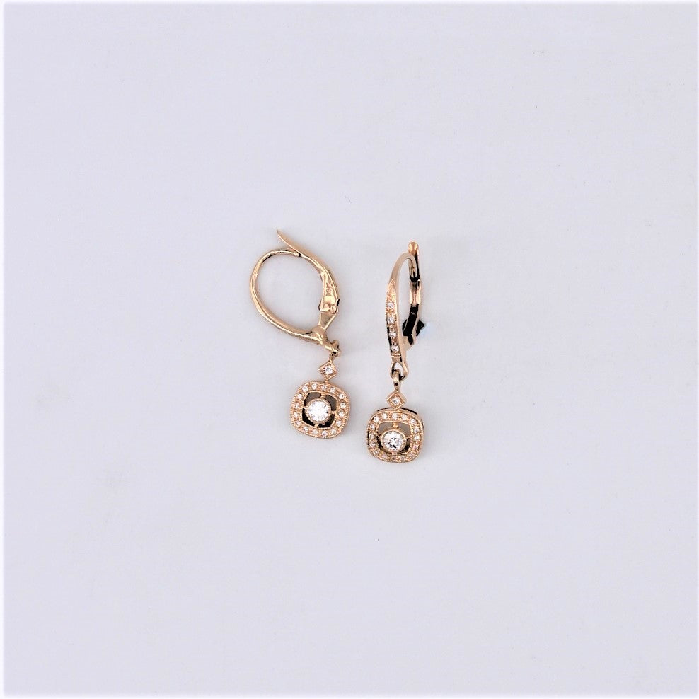 Diamond Earring With Square Halo