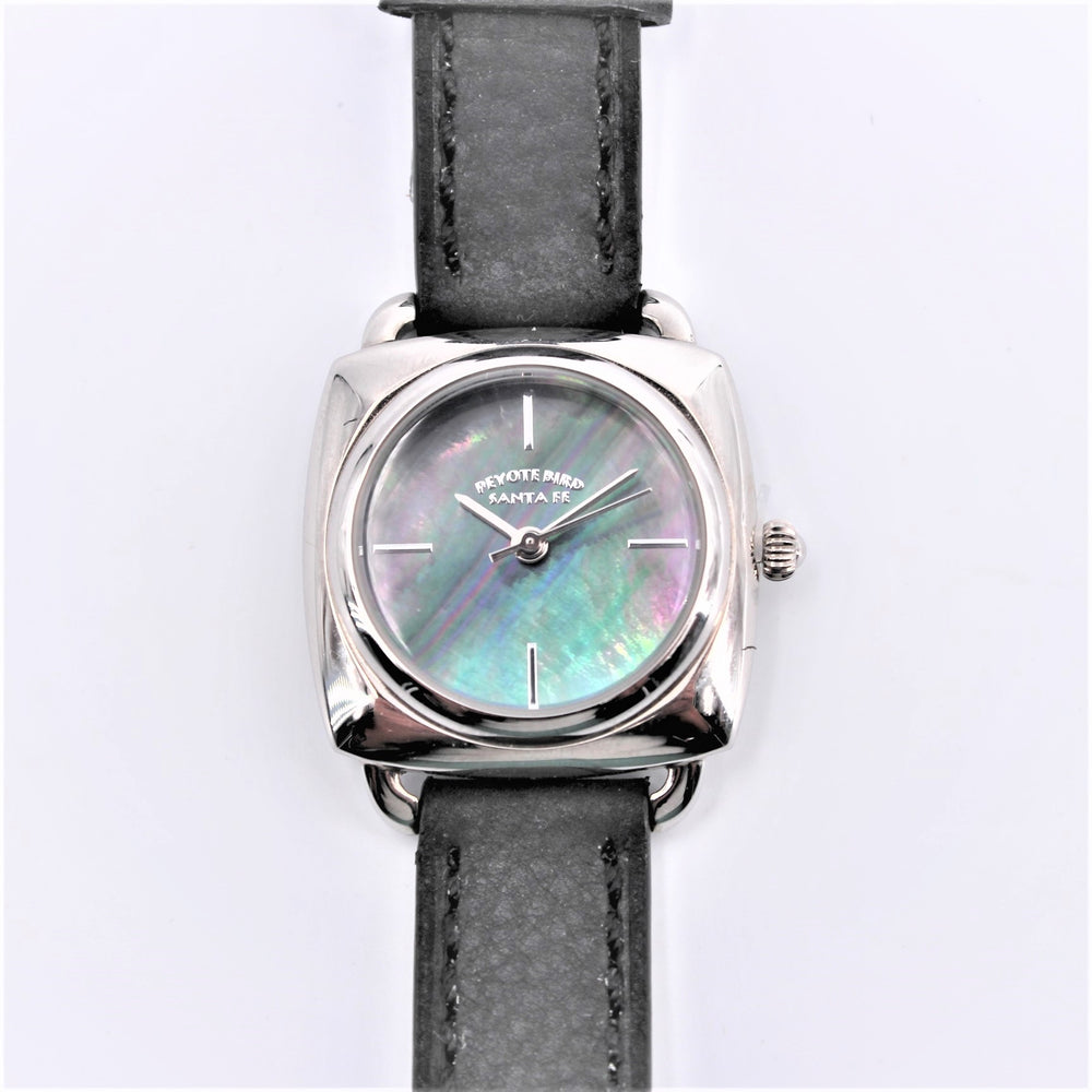 Abalone Face Black Leather Watch