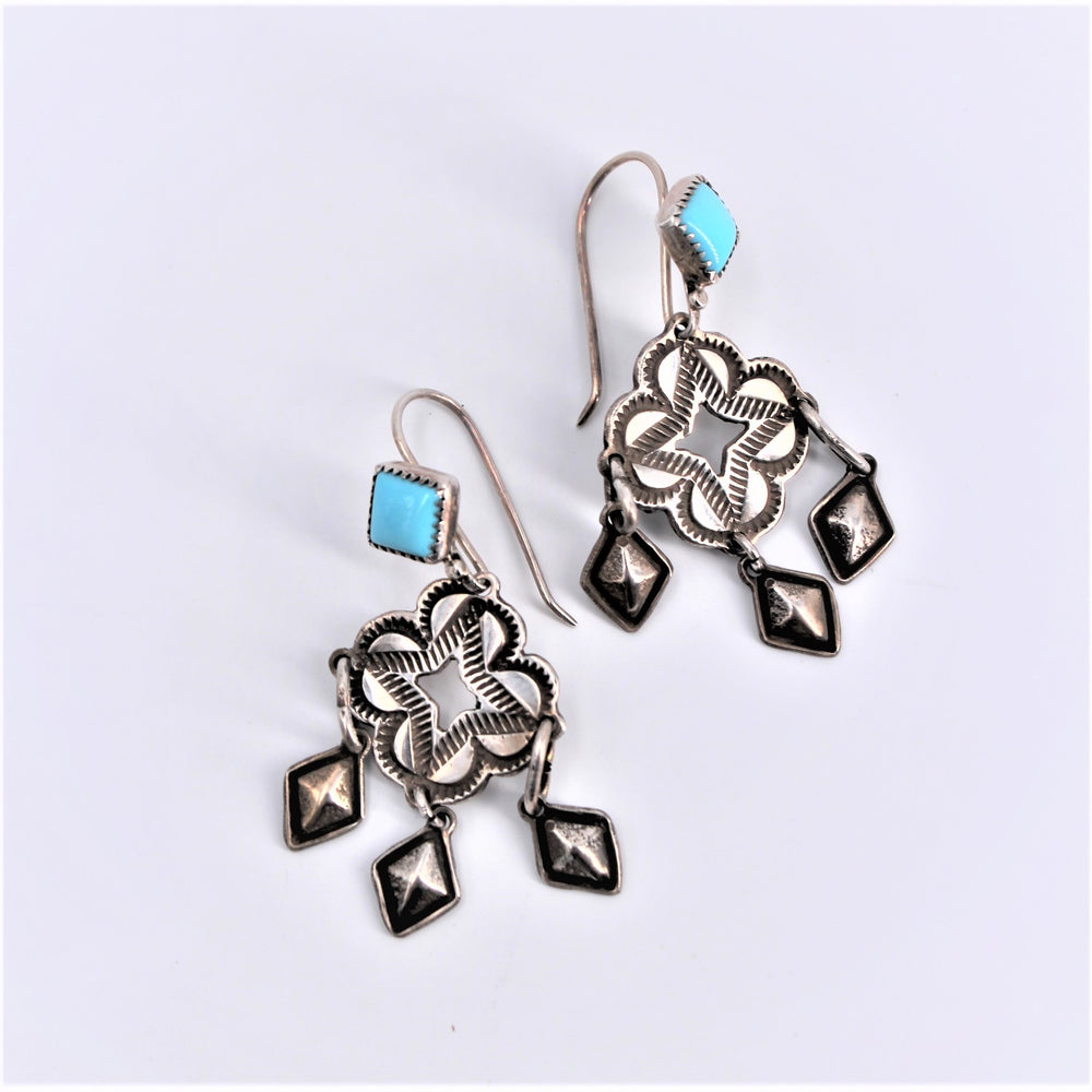 Diamond Stamped Turquoise Earrings
