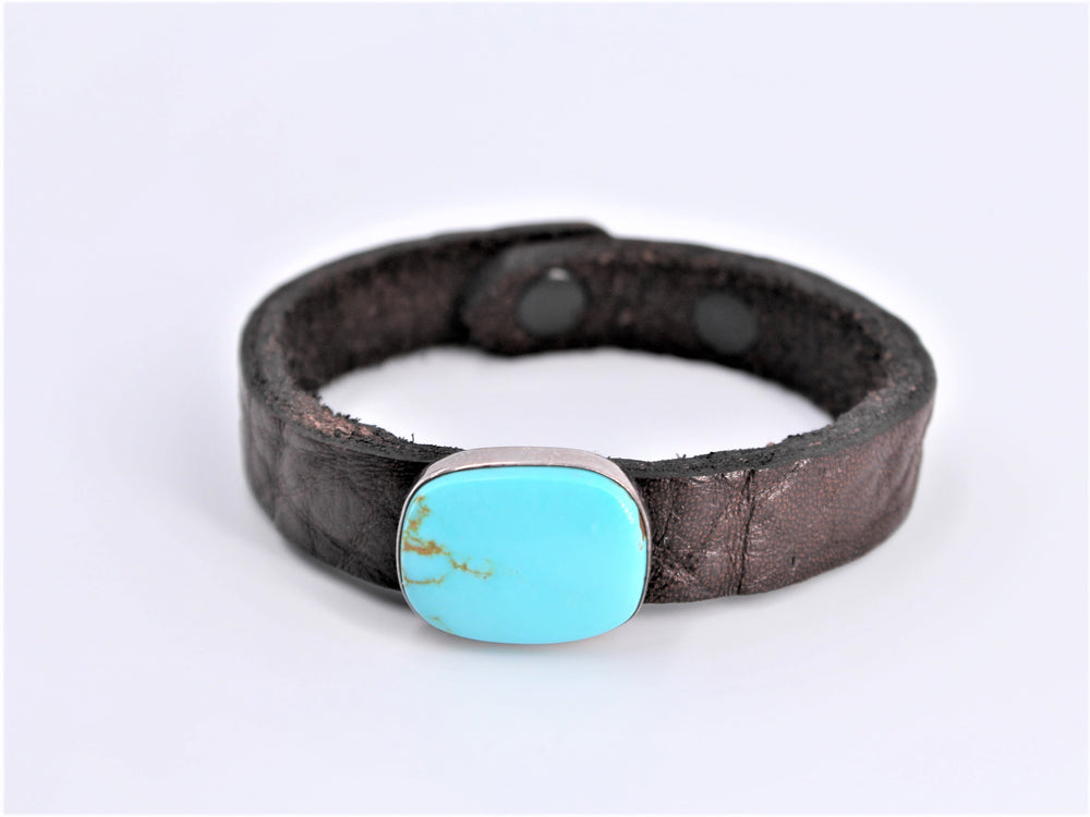 Leather and Turquoise Bracelet
