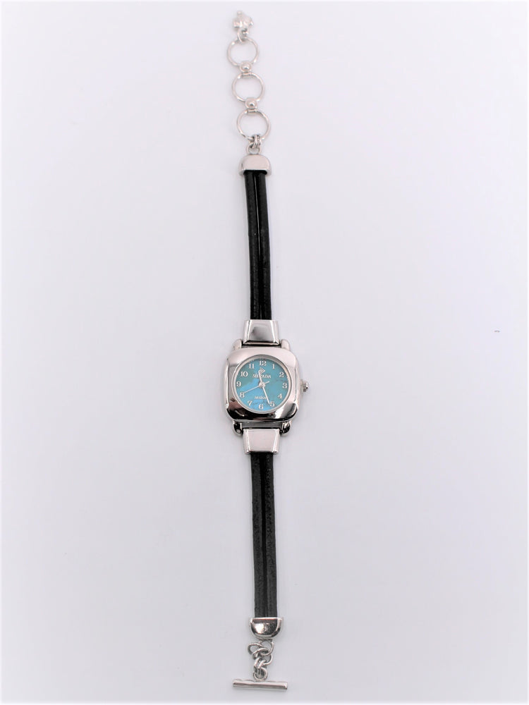 Leather and Turquoise Toggle Watch