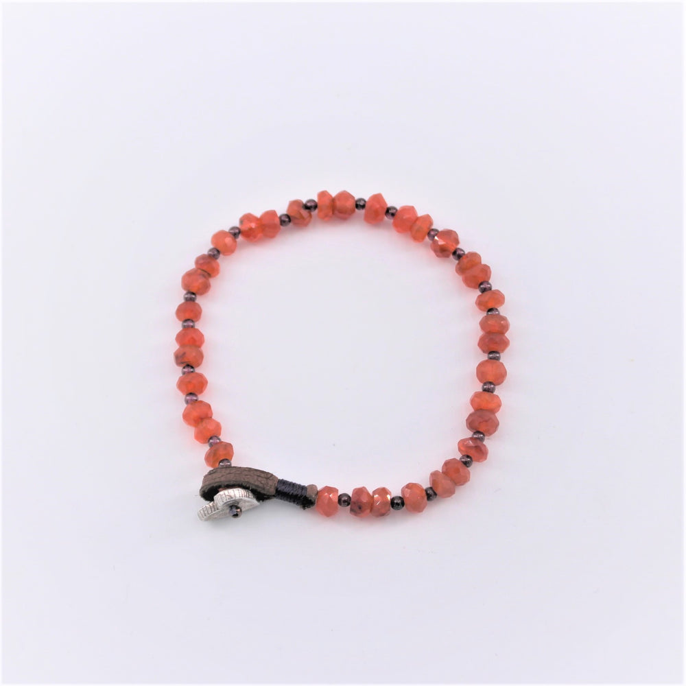 Carnelian and Leather Bracelet