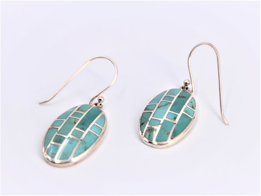 Turquoise Mosaic Oval Earrings
